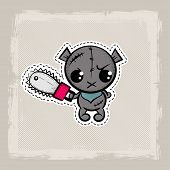 Halloween Stitch Zombie Bear Voodoo Doll. Evil Sewing Monster. Cute Colored Vector Halftone Sticker  poster