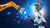 Robot With Artificial Intelligence Takes Control Of Factory Into Their Hands. Robotic Arm Goes Into  poster