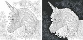 Unicorn. Coloring Page. Coloring Book. Colouring Picture With Fantasy Horse Drawn In Zentangle Style poster