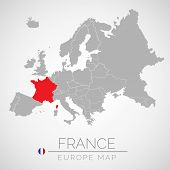 Map Of European Union With The Identication Of France. Map Of France. Political Map Of Europe In Gra poster