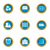 Mathematician Icons Set. Flat Set Of 9 Mathematician Vector Icons For Web Isolated On White Backgrou poster