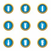 Sunray Icons Set. Flat Set Of 9 Sunray Vector Icons For Web Isolated On White Background poster