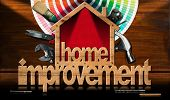 Home Improvement - Wooden Symbol In The Shape Of A House With A Work Tools And A Color Palette On A  poster