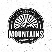 Mountains Expedition Black Vector Round Badge, Label, Emblem Or Logo Isolated On White Background Wi poster