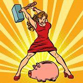 Woman Breaks Piggy Bank. Finance, Economics And Consumption. Comic Cartoon Pop Art Retro Vector Illu poster