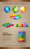 Collection Of Diagrams, Charts and Globe - Vector Illustration