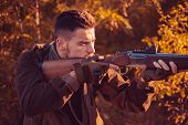 Hunter With Shotgun Gun On Hunt. Autumn Hunting Season. Autunm Hunting. Hunting Without Borders. Gun poster