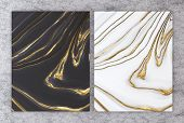 3d Rendering Of Black And White Marble With Golden Foil For Wedding And Greeting Invitation Card Or  poster