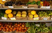 pic of greek food  - : A fruit shop display in Crete. The tags show the names of the various items in Greek. - JPG