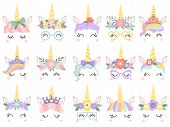 Unicorn Face. Beautiful Pony Unicorns Faces, Magic Horn In Rainbow Flower Wreath And Cute Eyelashes  poster