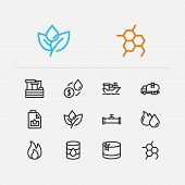 Oil Icons Set. Plant And Oil Icons With Oil Market, Oil Barrel And Engine Oil. Set Of Light For Web  poster