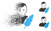 Feather Writer Icon With Face In Dispersed, Pixelated Halftone And Undamaged Solid Versions. Points  poster