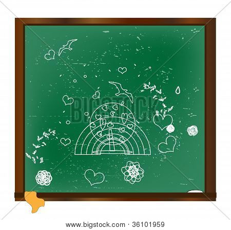 drawing with chalk on a blackboard vector