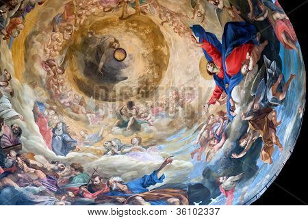 Interior view of the painting of dome of the Pisa Cathedral