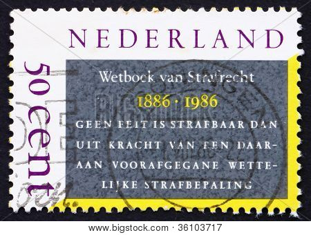 Postage stamp Netherlands 1986 Dutch Penal Code