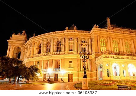 Night view of public opera and ballet theater in Odessa
