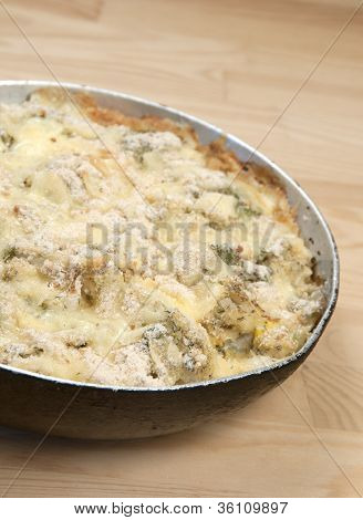 Baked Pudding With Cabbage And Cauliflower