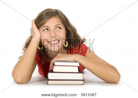 Teenage Girl With Stack Of Books