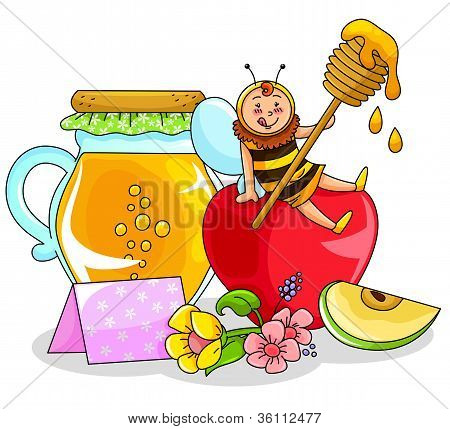 honey, apple and a happy bee