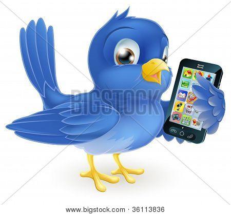Bluebird met mobiele telefoon