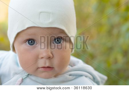 Cute Baby For A Walk In The Garden.