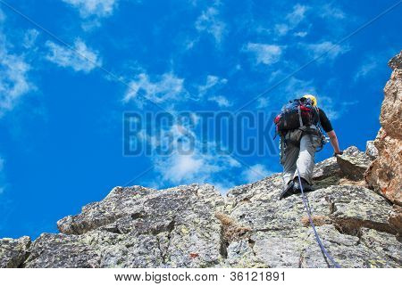 Climber on the mountain summit