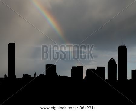 Boston Skyline With Rainbow