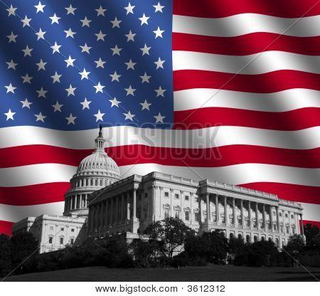 Nos Capitol con bandera americana
