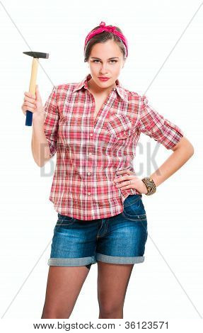 Worker Young Woman With Hammer