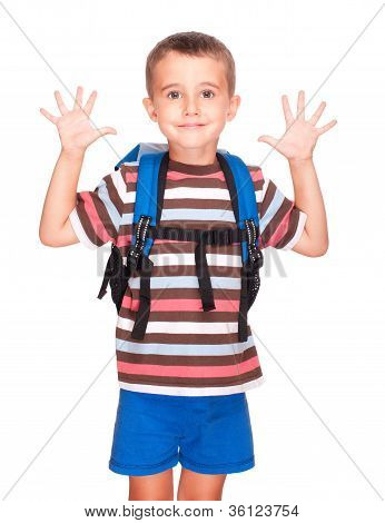 Little Boy Elementary Student With Backpack And Sandwich Box Shows Ten Fingers