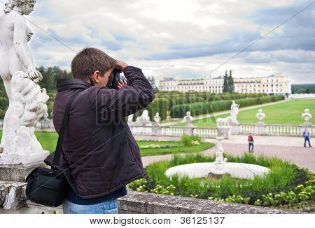 Tourist Making Photo In Arkhangelskoe Estate