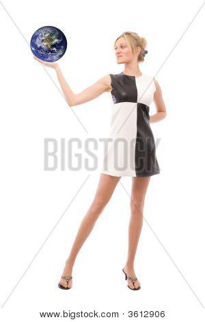 Businesswoman With Globe