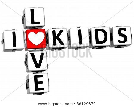 3D I Love Kids Crossword