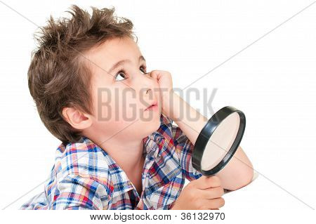 Dreamy Little Boy With Weird Hair And Magnifier