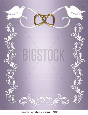 Wedding Invitation Lavender With White Doves Stock photo