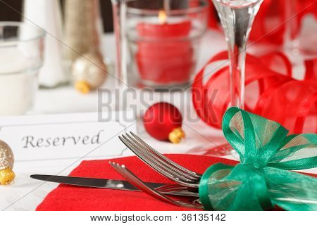 Reserved Christmas Restaurant Table
