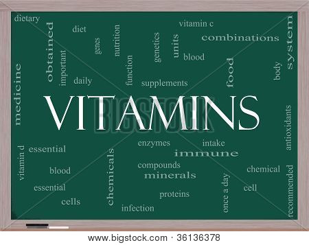 Vitamins Word Cloud Concept On A Blackboard