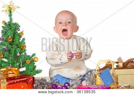 Cute Baby Enjoying Christmas