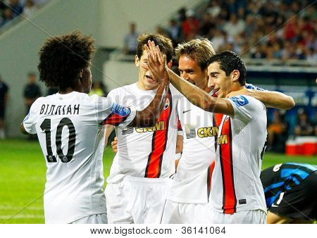 Odessa, Ukraine - August 19, 2012: Players On Team Shakhtar Match With Chernomorets Odessa. Champion