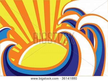 Abstract Sea Waves Poster. Vector Color Illustration