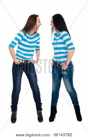 Two Vigorous Girls In Striped Vests