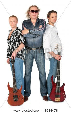 Three Men With Two Guitars. Music Group Full Body.