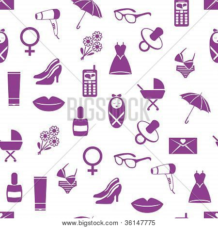 Seamless Pattern With Women Icons