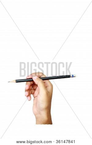 Human Hands With Pencil And Writting Something