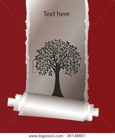 árvore e papel rasgado