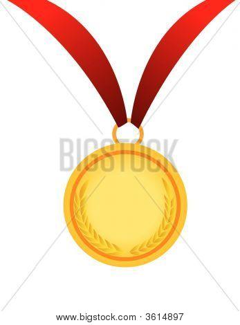 Gold Medal Vector Illustration On White