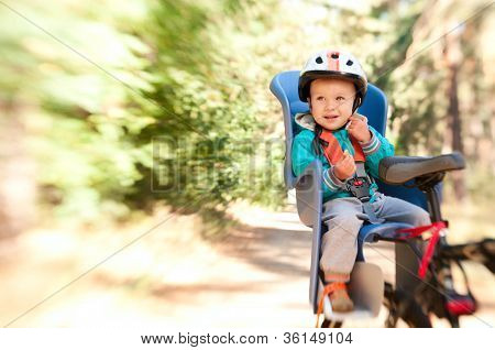 Little Boy In Bike Child Seat