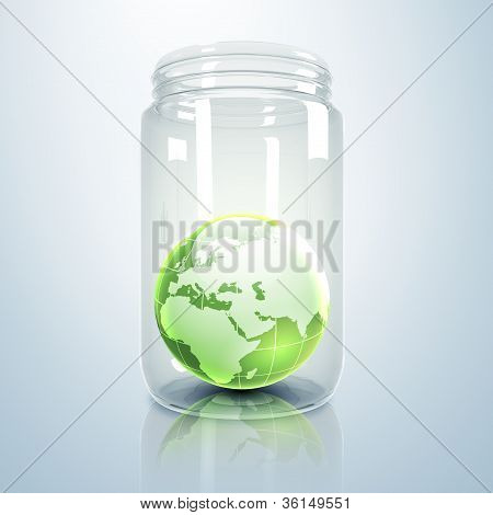Planet earth inside glass jar