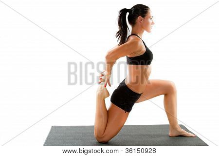 Fitness Woman Make Stretch On Yoga And Pilates Pose On Isolated White Background   The Concept Of Sp