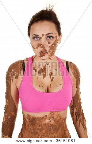 Woman Pink Sports Top Mud Stare